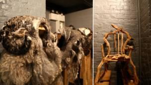 比較奇怪的作品也是比比皆是,比如以羊和羊毛為靈感做的野獸帽子。