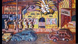 Frank Romero (East LA, CA, 1941) Death of Ruben Salazar. 1986. Copyright 1986, Frank Romero