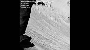 Imagen satelital del Iceberg de la Isla Pine
