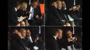 David Cameron da Barak Obama na daukar hoto da Helle Thorning-Schmidt.