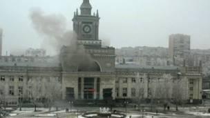 Дым после взрыва в Волгограде