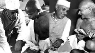 जवाहरलाल नेहरू, महात्मा गांधी.