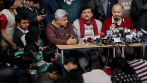 आम आदमी पार्टी के नेता मनीष सिसोदिया और संजय सिंह