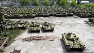Tank rusak di Ukraina
