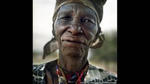 Xlarema Phuti, a Bushman woman healer. Xlarema Phuti, a Bushman woman healer