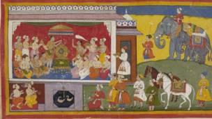 राम बनबासबाट फर्किन नमानेपछि उनका सौतेनी भाइ भरतले रामको खराउलाई सिंहासनमा राख्दै