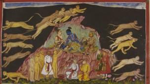 राम उनका भाइ लक्ष्मण र सुग्रिव एक चट्टानमा बस्दै