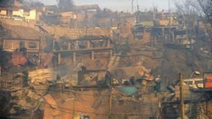 Damnificados del incendio en Valparaiso