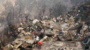 Casas destruidas en Valparaíso, Chile