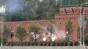 Cañones rusos frente al Kremlin
