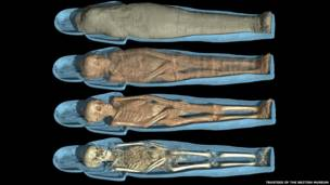 Composite image of scans of Tjayasetimu's mummy with the cartonnage sectioned in half to reveal body. A veil was also used to cover her head. © Trustees of the British Museum