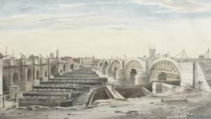 Vista cercana al nuevo puente de Londres por Gideon Yates 1790–1837.  Museo de Londres.