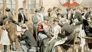 Прививка от оспы во Франции - старая иллюстрация
