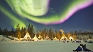 Aurora Village kəndi, Yellowknife, Canada. O Chul Kwon / Caters News Agency