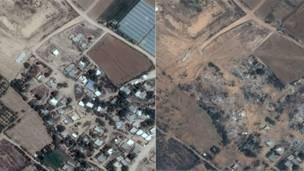 La Franja de Gaza antes y después de los ataques israelíes
