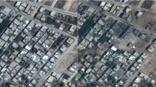 Gaza antes y después del ataque israelí