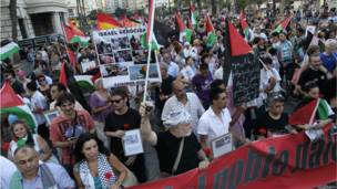 फ़लस्तीनियों के समर्थन में प्रदर्शन