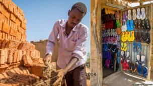 Mkimbizi akijenga nyumba ya kudumu ya matofali katika kambi ya Hamadia Kusini mwa Darfur