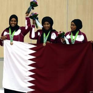 एशियाई खेलों में हिजाब में महिला खिलाड़ी