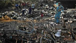दिल्ली में झुग्गी बस्ती में आग