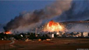 सीरिया के कोबानी शहर में हिंसा