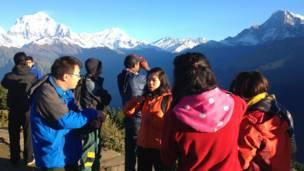 चीनी पर्यटक, पन पहाड़ी, मयाग्डी, पश्चिमी नेपाल