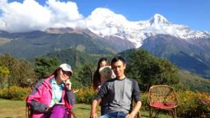 चीनी पर्यटक,घंडरुक गांव,कास्की जिला,पश्चिमी नेपाल