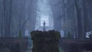 Туман в Петергофе осенью.