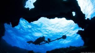 Пещера в вулканическом рифе Фернанду-ди-Норонья (Courtesy of Catlin Seaview Survey)