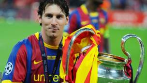 Lionel Messi, bakina na Manchester United mu 2011