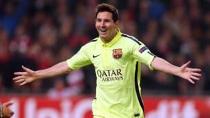 Lionel Messi, bakina na Ajax mu 2014