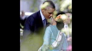 باراک اوباما رئیس جمهوری آمریکا و و آنگ سان سو چی رهبر مخالفان برمه