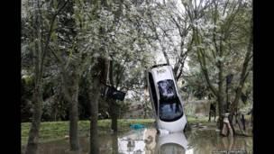 باران سیل آسا در شهر مونپلیه فرانسه