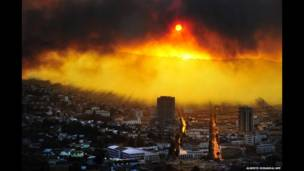 آتش سوزی در شهر والپارایزو در شیلی