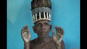 Chief of Ramnami people in Chhattisgarh, India
