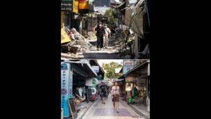 Imagens mostram a devastação logo após a tragédia que deixou centenas de milhares de mortos e a reconstrução