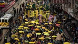 香港民间人权阵线游行队伍经过铜锣湾高士威道(1/2/2015)