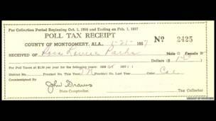 Recibo de impuestos de Parks, 1957. Rosa Parks Papers, Librería del Congreso, Washington DC.