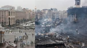 """Вид на Майдан Независимости с крыши торгового центра """"Глобус""""."""