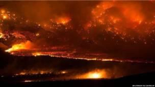 अमरीका के कैलिफ़ोर्निया में आग