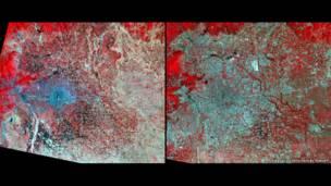 Impacto do derretimento de geleiras, represamento de águas e da urbanização podem ser vistos do alto ao longo dos anos.