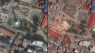 دہراہرا ٹاور کی زلزلے سے پہلے اور بعد کی سیٹلائٹ تصاویر