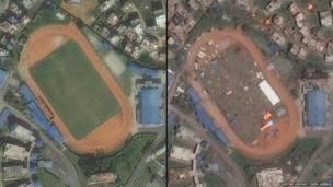 کھٹمنڈو سٹیڈیم کی زلزلے سے پہلے اور بعد کی سیٹلائٹ تصویر