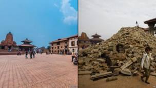 دربار سکوائر، بھکتاپور: فروری 2015 اور اپریل 2015