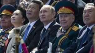 Председатель Президенты России, Китая и Казахстана и ветеран Второй мировой