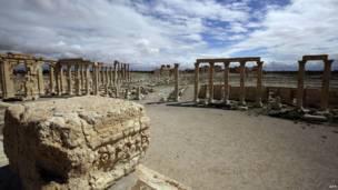 صورة التقطت في 14 مارس/آذار 2014 تظهر مدينة تدمر الأثرية، وكالة الأنباء الفرنسية