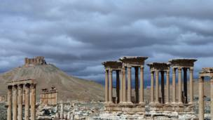 صورة التقطت في 14 مارس/آذار 2014 تبين منظر جزئي لمدينة تدمر الأثرية، التي تقع على بعد 215 كيلومتر شمال شرق دمشق. وكالة الأنباء الفرنسية