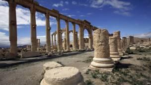 صورة التقطت في 14مارس/آذار 2014 تظهر منظرا جزئيا لمدينة تدمر، وكالة الأنباء الفرنسية  201