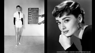 Trái: thử trang phục cho phim Sabrina. Phải: Audrey Hepburn do Bud Fraker chụp cho phim Sabrina, Hãng Paramount Pictures, năm 1954