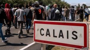 campamento de refugiados en Calais, Francia.